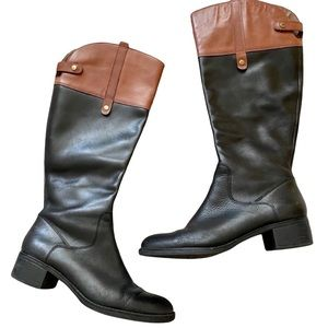 Franco Sarto Tall Black Riding Leather Knee High Boots